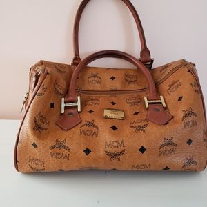MCM Cognac Visetos Coated Canvas Small Heritage B